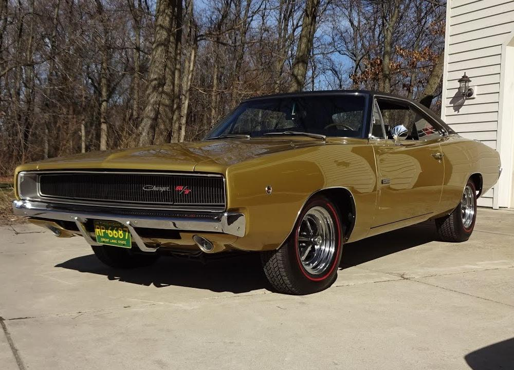 1968 Dodge Charger R/T in Medium Gold & 426 Hemi Engine Sound on ...