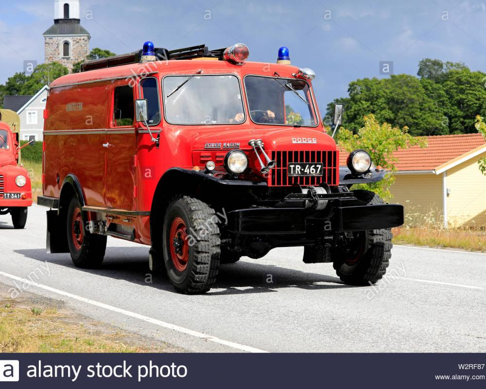 Kimito, Finland. July 6, 2019. Vintage Dodge Power Wagon fire ...