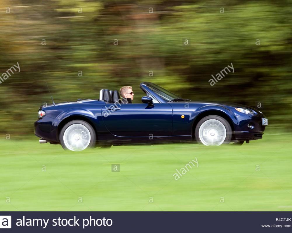 Mazda MX-5 2.0 MZR Roadster Coupe, model year 2006-, blue moving ...